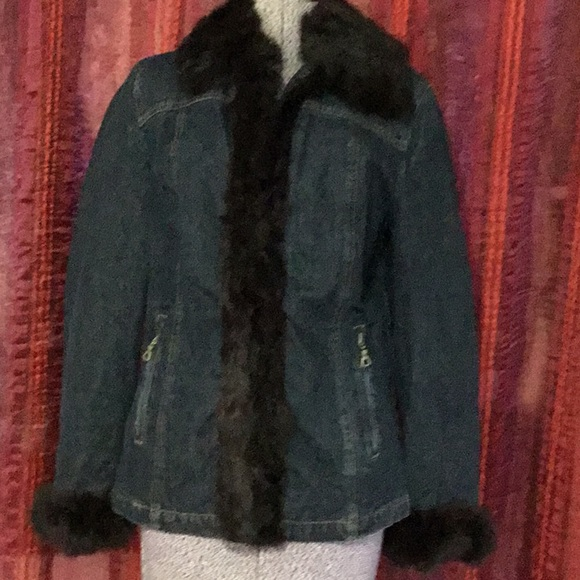 NINE WEST denium/ faux fur jacket